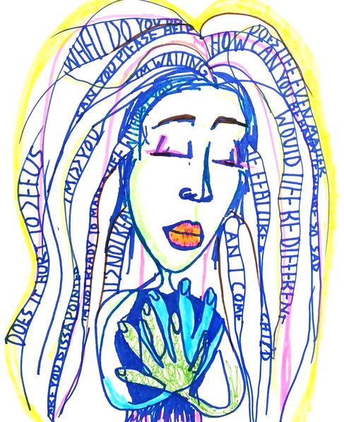 An art therapy drawing of a woman holding many thoughts and emotions which are depicted in her hair