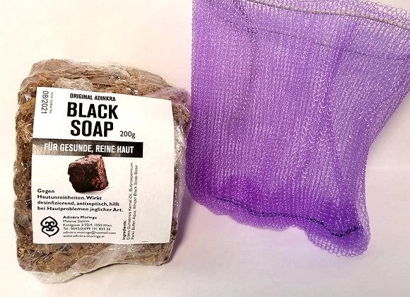 Black Soap mit Duschnetz