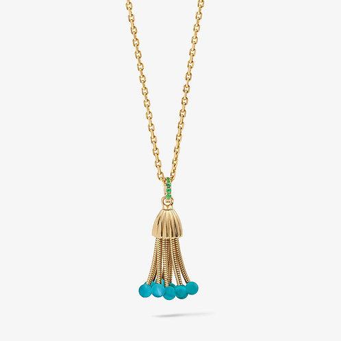 Pendentif Polpo, or jaune, perles de turquoises et tsavorites