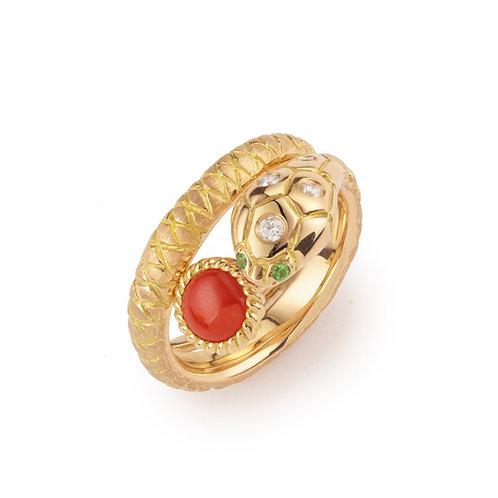 Bague Kaa le serpent, or rose, diamants et corail