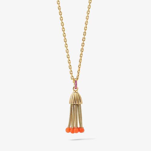 Pendentif Polpo, or jaune, perles de corail et saphirs roses