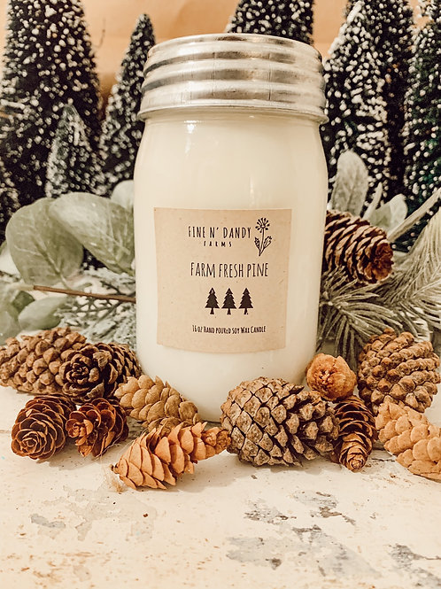 Farm Fresh Pine 16 oz Soy candle
