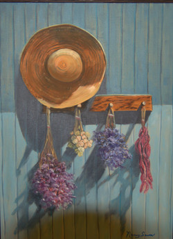 """Hat & Flowers Hangin """"Backporch"""""""