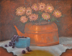 Copper Kettle & Bowl of Grapes