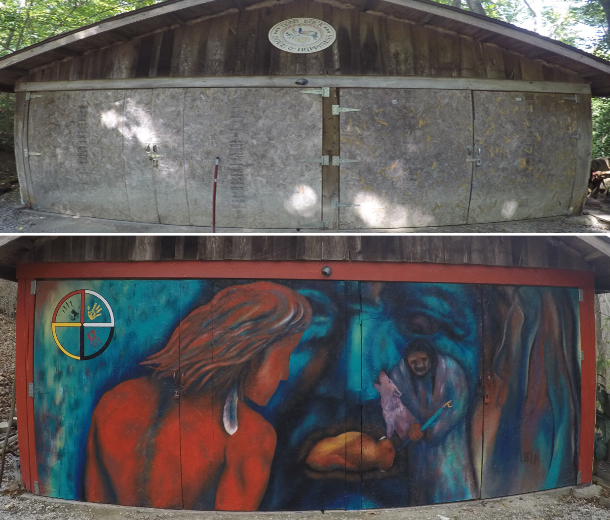 Native American Mural Before and After