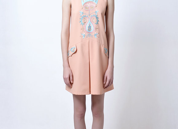 Wool Dress with Handmade Embroidery
