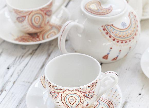 Paisley Jewelry Red Tea Set
