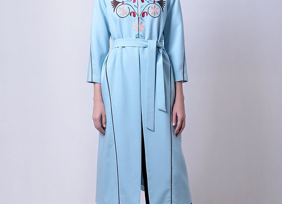 Blue Coat with Machine Embroidery