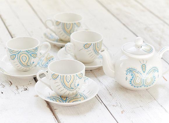 Paisley Jewelry Turquoise Tea Set