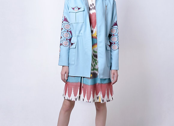 Blue Parka with Embroidery