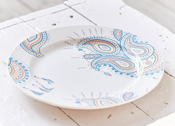 Paisley Jewelry Blue Dinner Plate