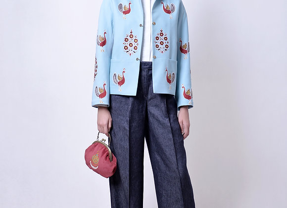 Blue Jacket with Handmade Embroidery