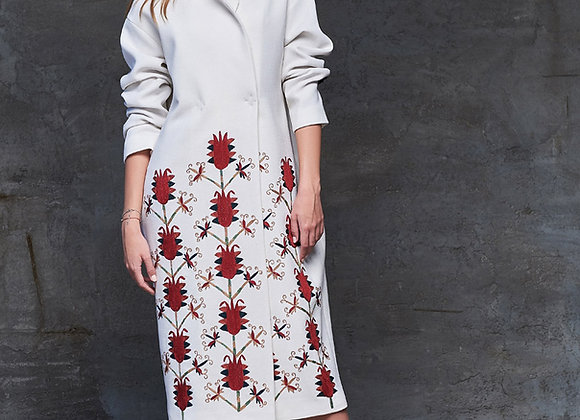 White Coat with Handmade Embroidery