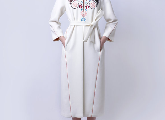 White Coat with Machine Embroidery