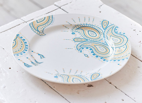 Paisley Jewelry Turquoise Dinner Plate