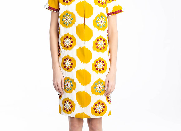 Embroidery Ikat Coat - Short Sleeve