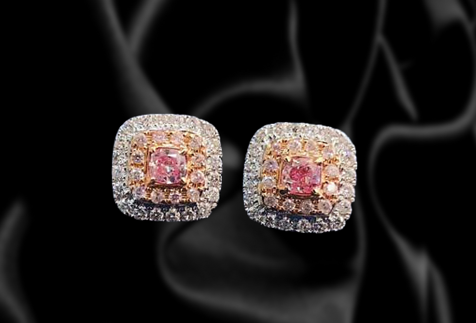 Layered Pink and White Diamond Earrings, 18kt White and Rose Gold.