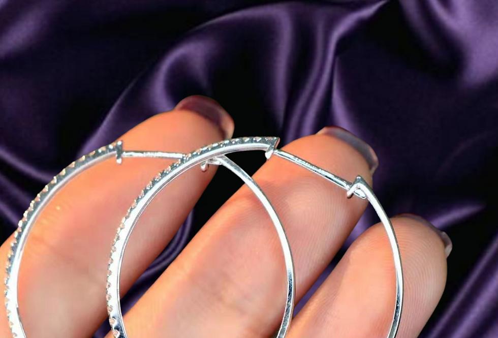 diamond big circle hoop earrings 18kt white gold