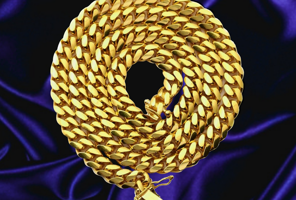 Solid Miami Cuban 6.7mm Chain in 14kt Yellow Gold
