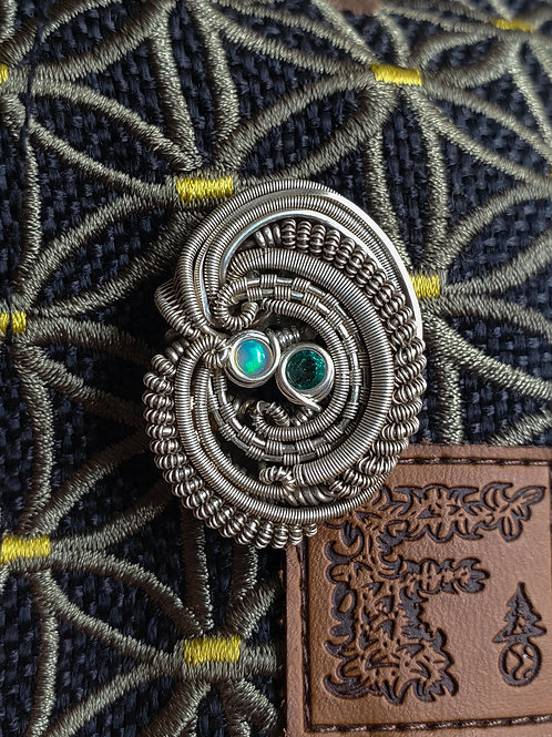 Wire Wrapped Hat Pin with Emerald and Opal