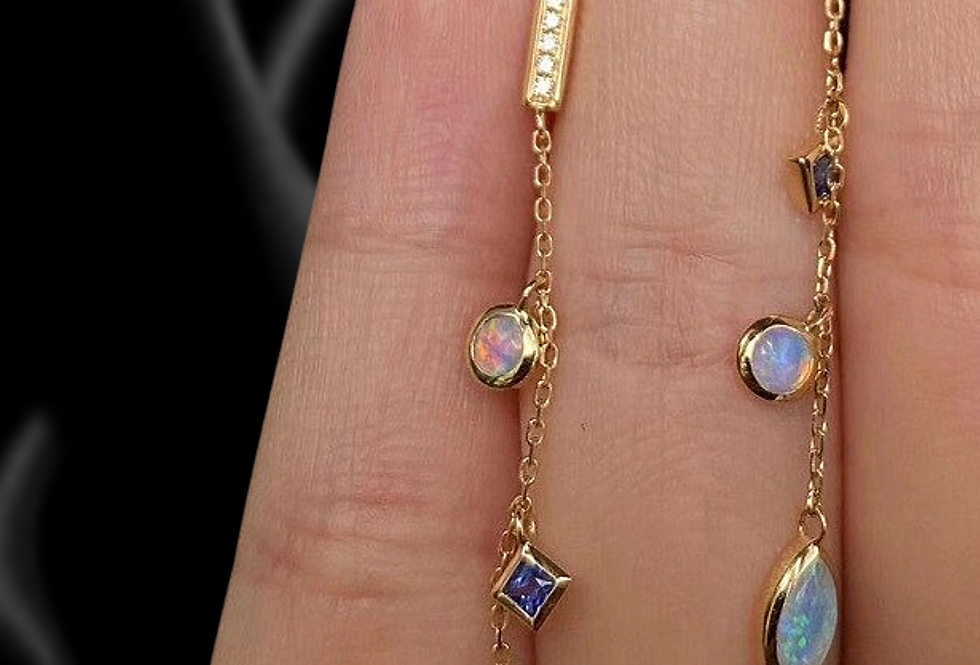 14kt yellow gold dangle earrings with Opal and sapphire