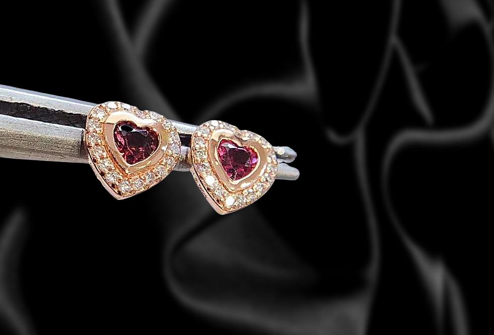 18kt Rose Gold Tourmaline Heart Stud Earrings