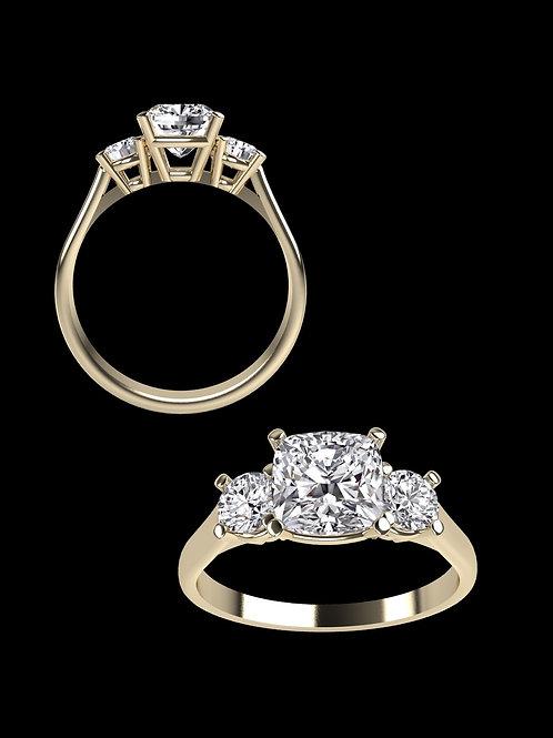 Cushion cut 3 stones Diamond Ring