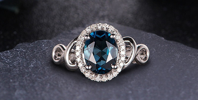 London Blue Topaz Halo Engagement Ring in 14kt White Gold