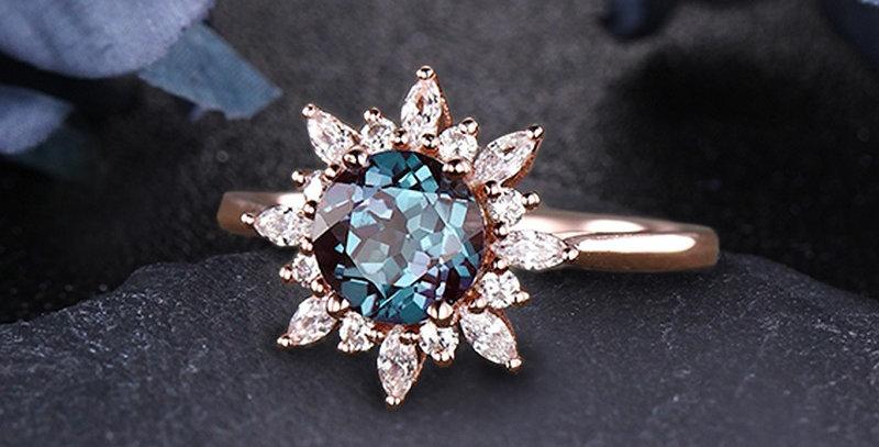 Sunburst Alexandrite Engagement Ring in 14kt Rose Gold