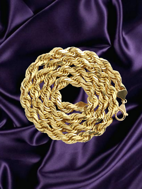 Solid Rope 3mm Chain in 14kt Yellow Gold