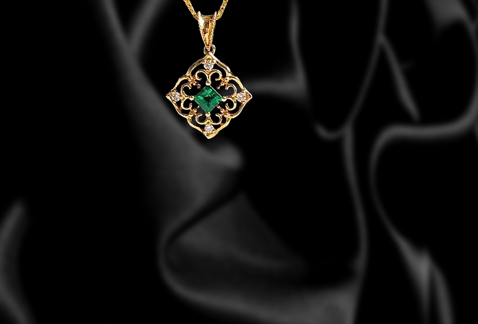 Enchanted 18kt Gold Emerald and Diamond Necklace