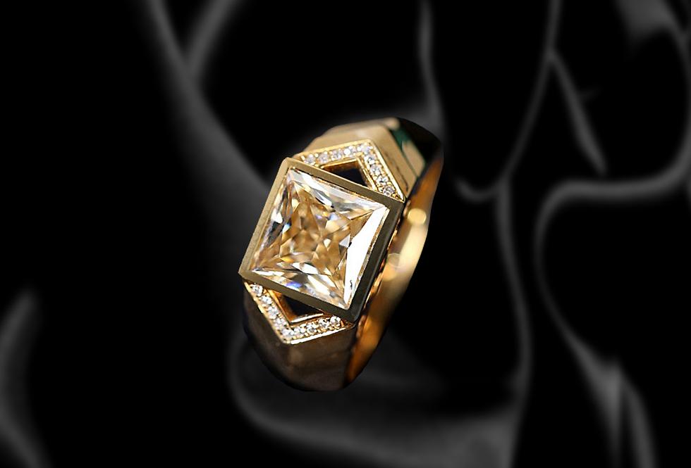 Sleek Technical Mens 18kt Yellow Gold Engagement Ring