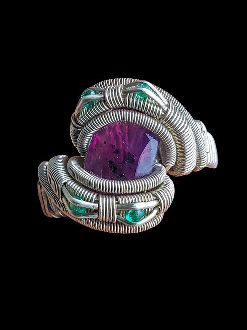 Purple Sapphire and Emerald Ring