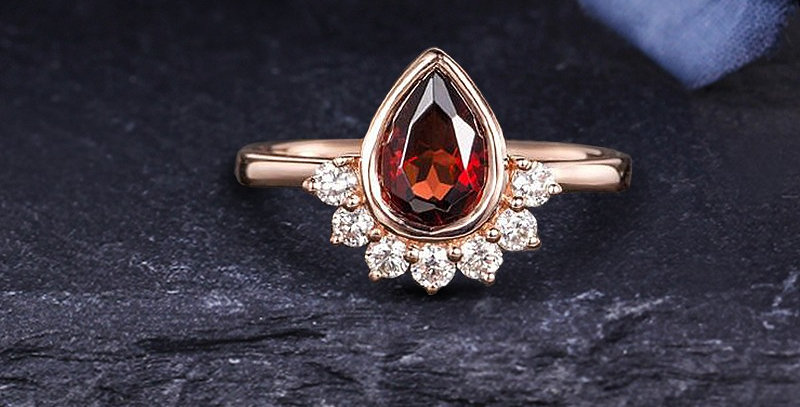 Red Teardrop Engagement Ring in 14kt Gold