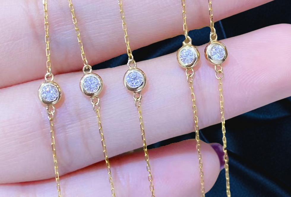 single bezel set diamond bracelet 18kt