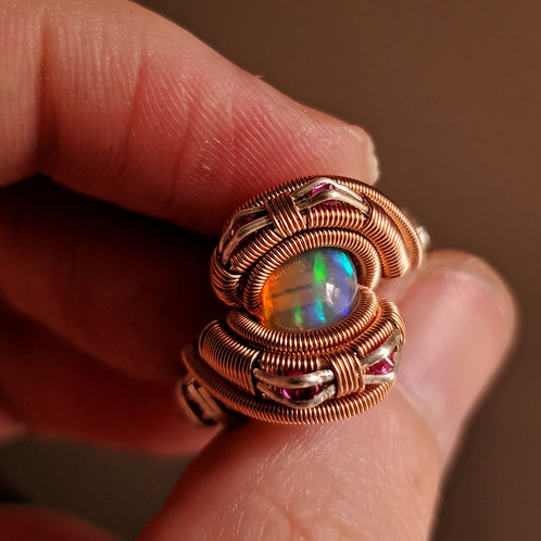 Custom Rose or Yellow Gold Opal Ring