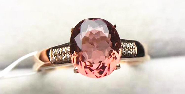 Starburst Pink Tourmaline 18kt Gold Ring