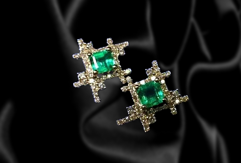Starburst Emerald and Diamond Earrings in 18kt Yellow Gold