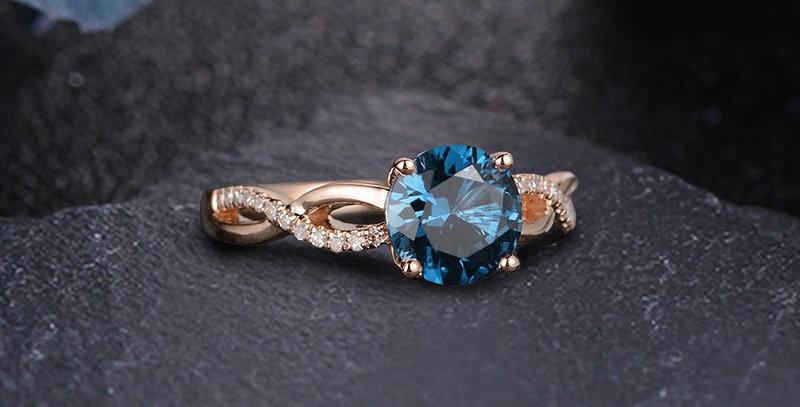 London Blue Topaz Engagement Ring in 14kt Gold