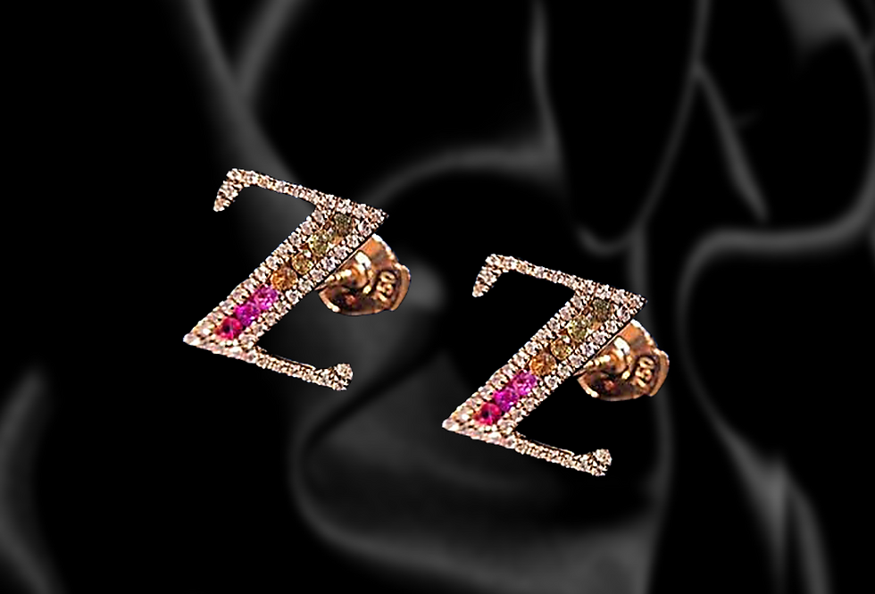 Diamond and Sapphire Initial Earrings in 18kt Rose Gold