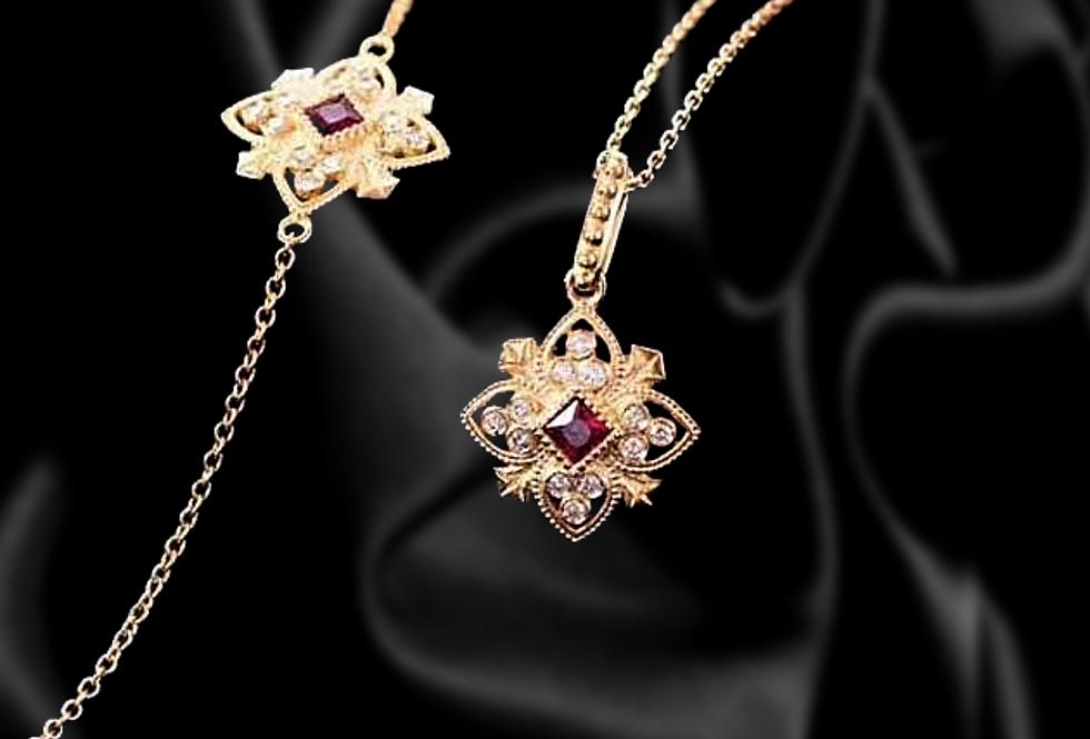 Mandala Bracelet and Necklace Set  Diamond and Ruby 18kt yellow gold