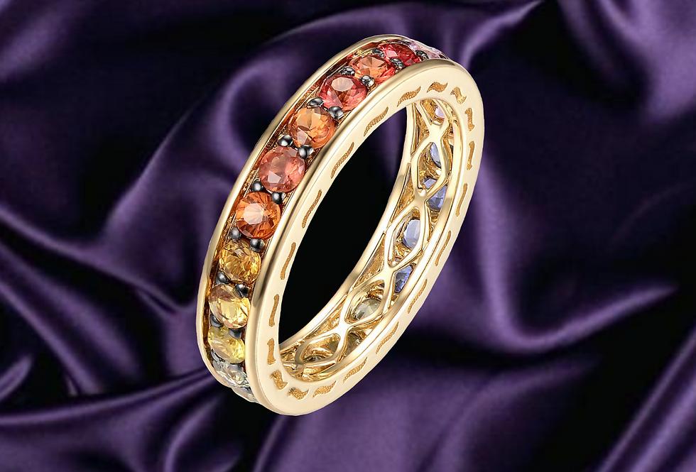 Rainbow Sapphire 14kt  Channel Set Ring