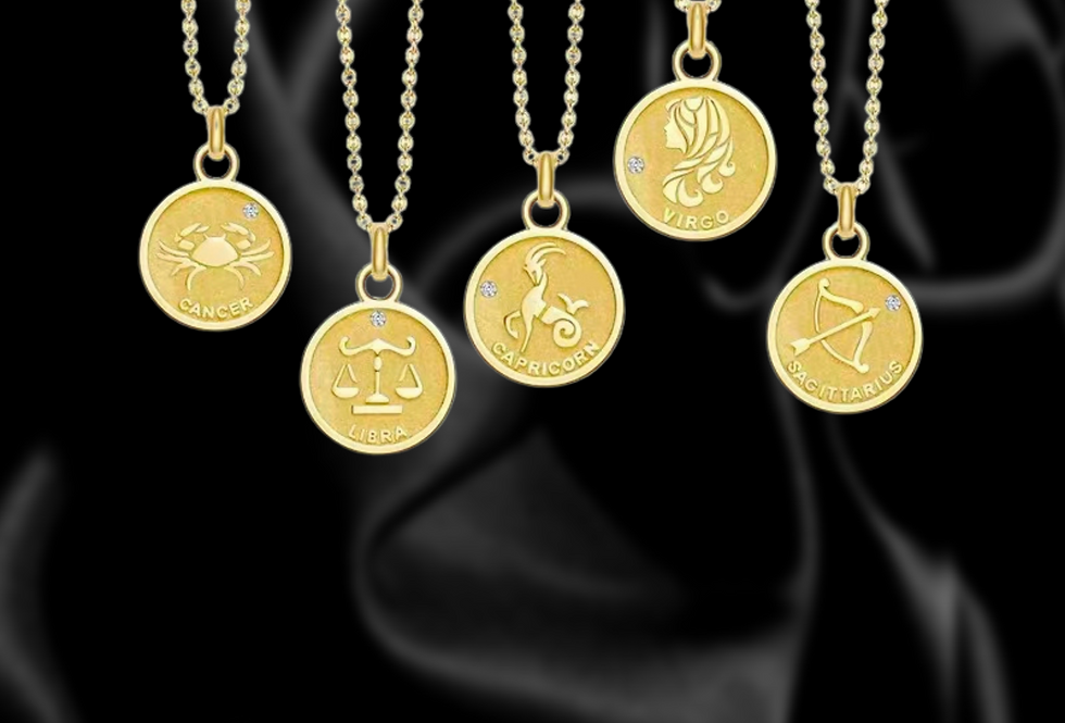 Zodiac Diamond 18kt Yellow Gold Coin Necklace