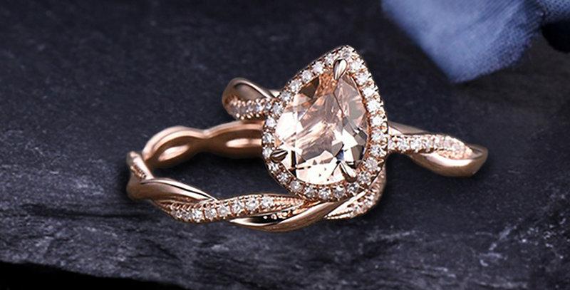 Pear Shaped Morganite 14kt Rose Gold Engagement Set