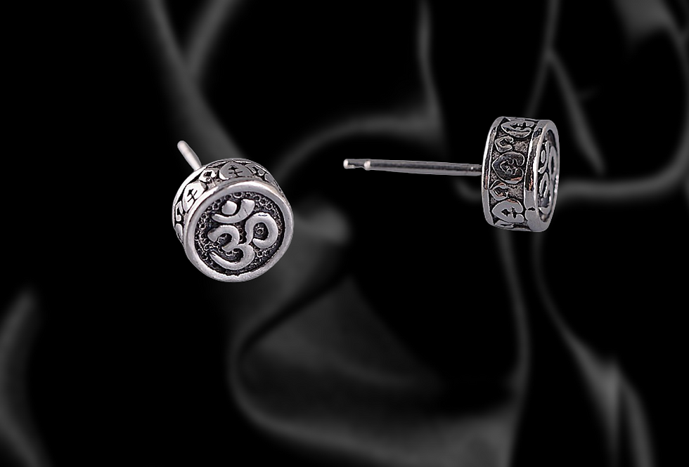 om mantra sterling silver earrings