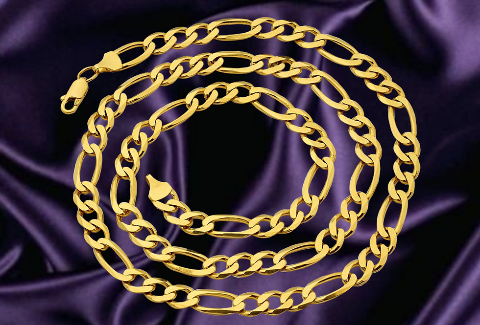 Solid Figaro 3.8mm Chain in 14kt Yellow Gold