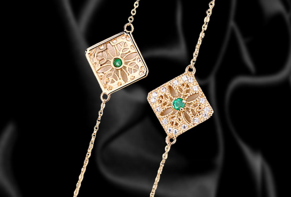 Art Deco 14kt Rose Gold emerald bracelet