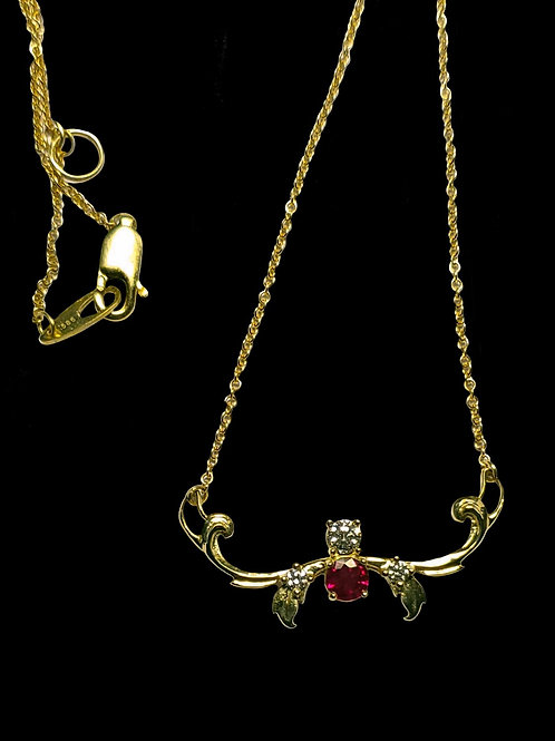 Diamond and Ruby Gold Pendant