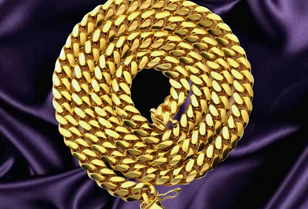 Semi Solid Miami Cuban 10.5mm Chain in 14kt Yellow Gold