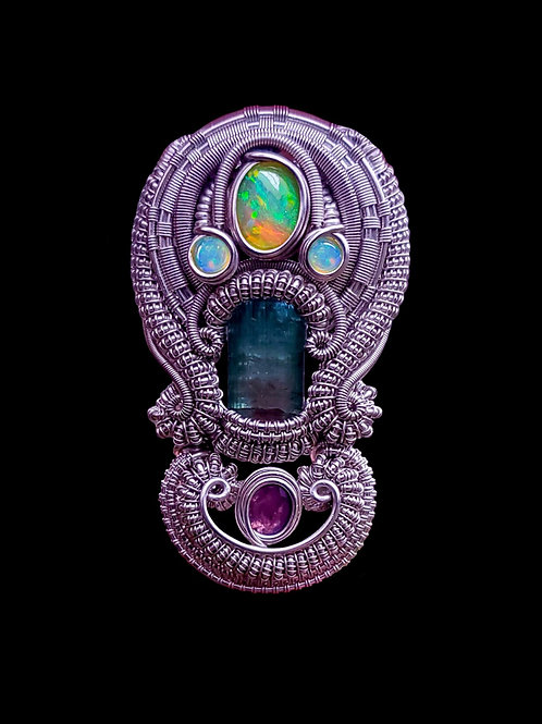 Watermelon Tourmaline and Purple Sapphire Pendant
